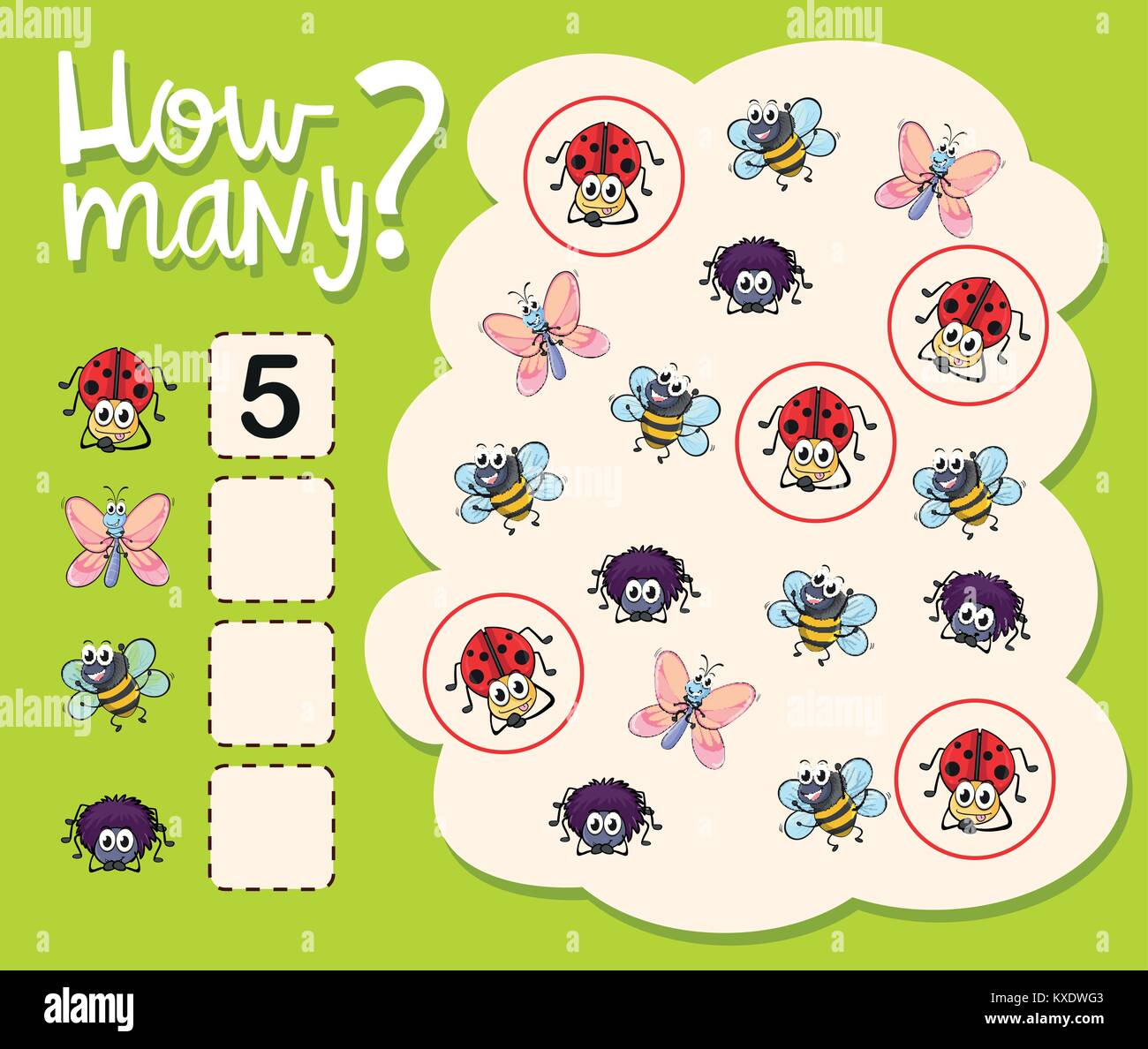 How Many Worksheet With Many Insects Illustration Stock Vector Art Amp Illustration Vector Image