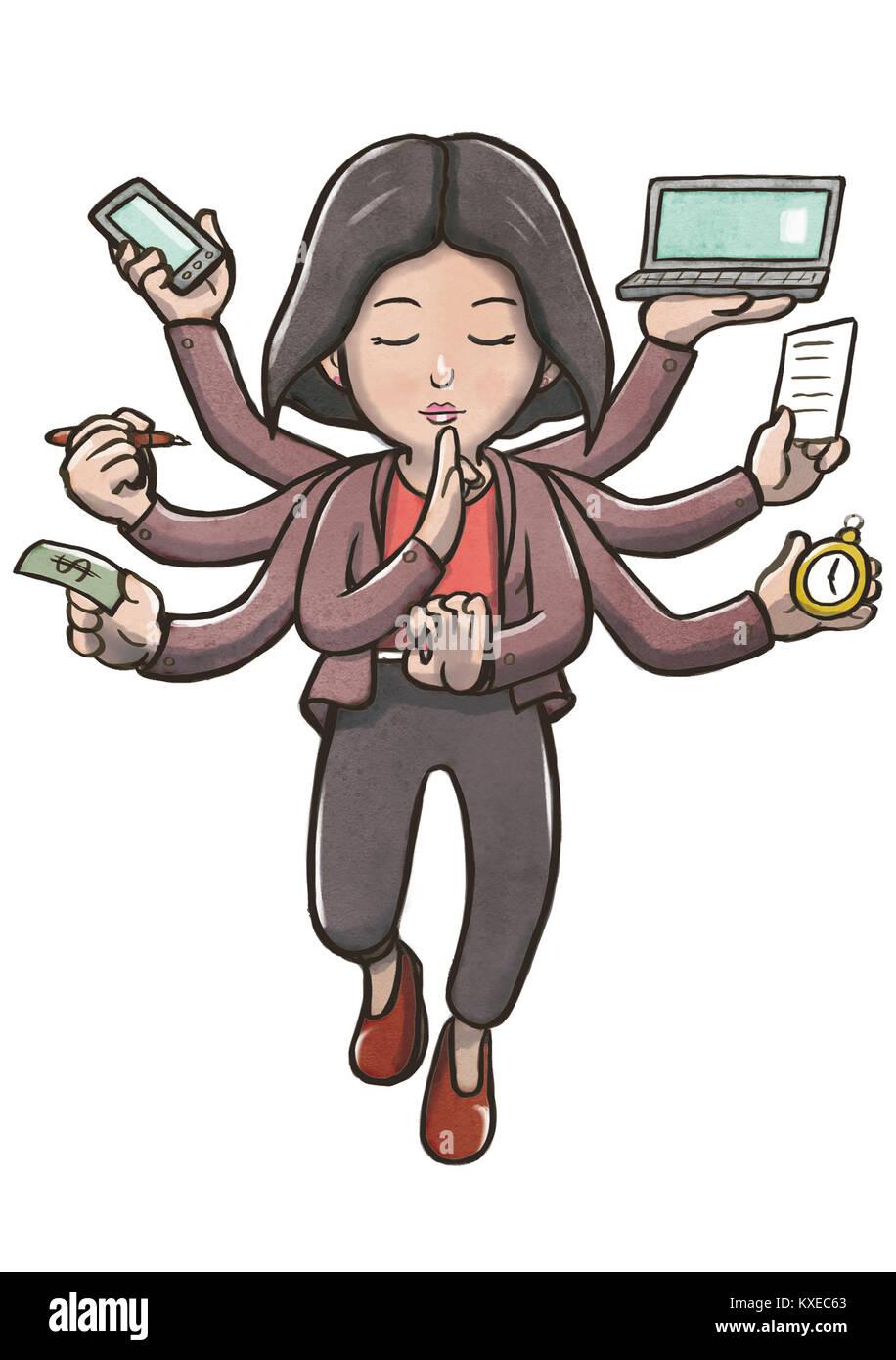 Woman Multitasking Arms Stock Photos Amp Woman Multitasking