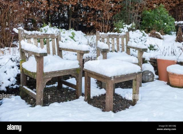 garden furniture winter stock photos & garden furniture winter stock