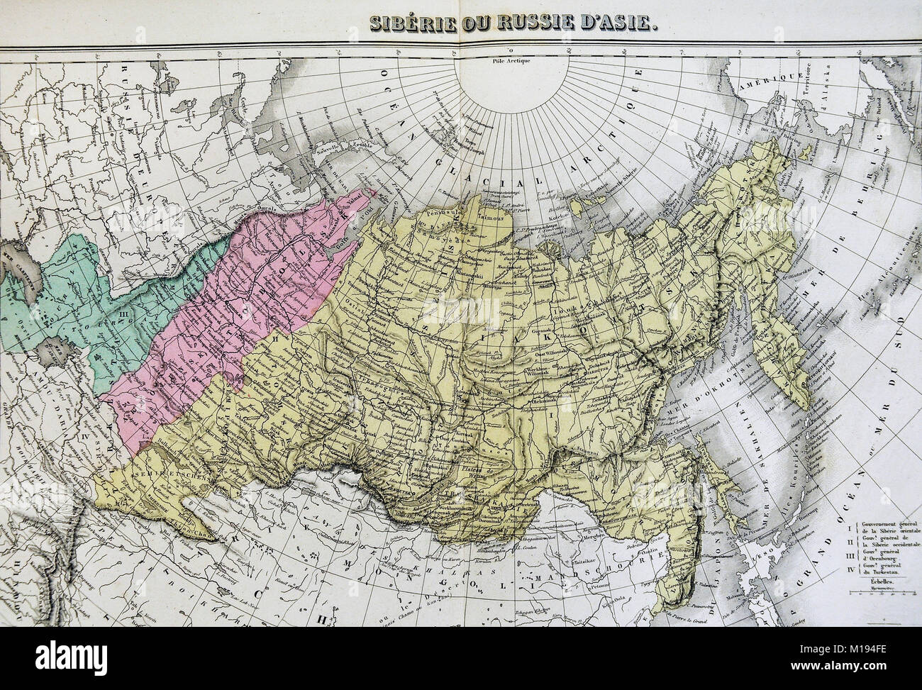 Ural Mountains Russia Stock Photos   Ural Mountains Russia Stock     1877 Migeon Map   Russia Siberia Asia   Arctic Ocean Ural Mountains   Stock  Image