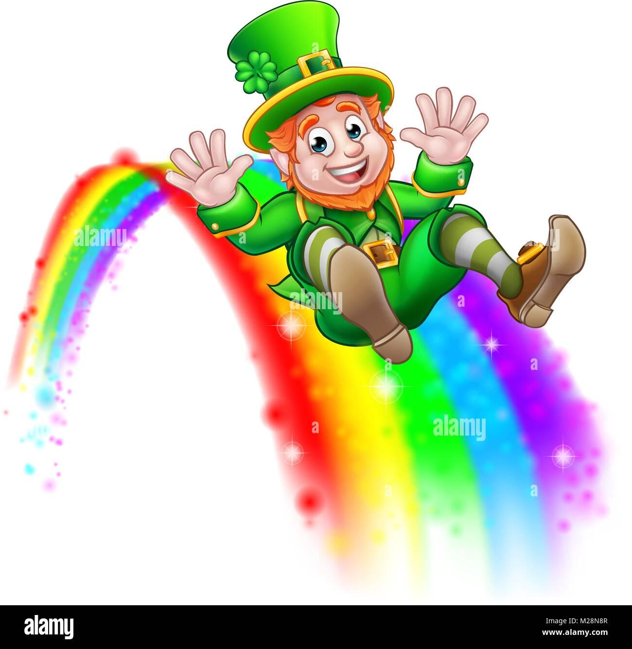 St Patricks Day Leprechaun Rainbow Slide Stock Vector Art