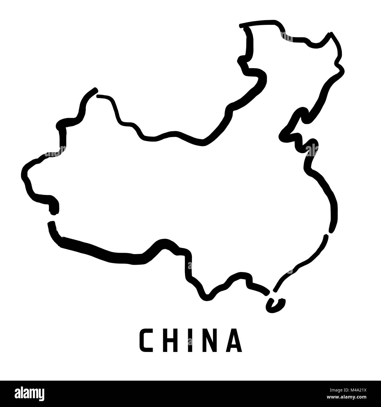 China Simple Map Outline