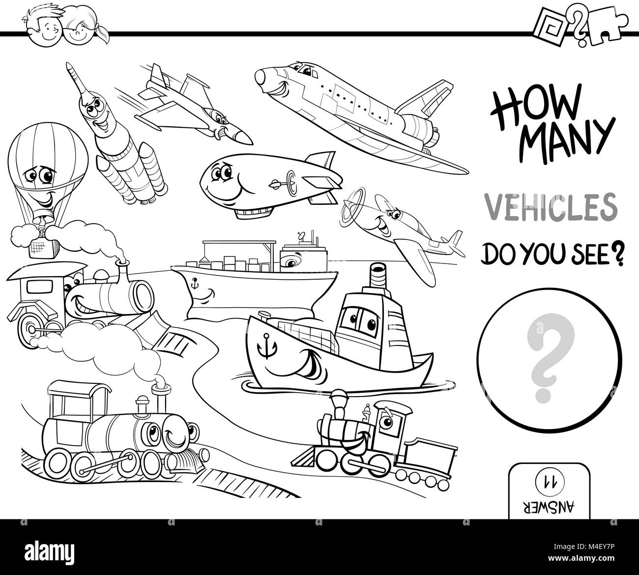 Counting Vehicles Coloring Book Stock Photo