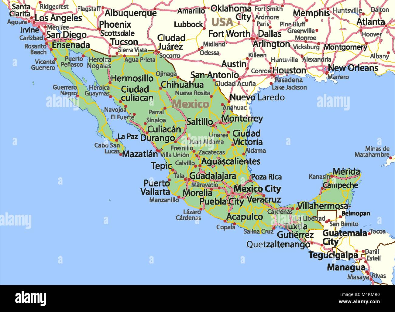 Map Of Mexico Shows Country Borders Place Names And