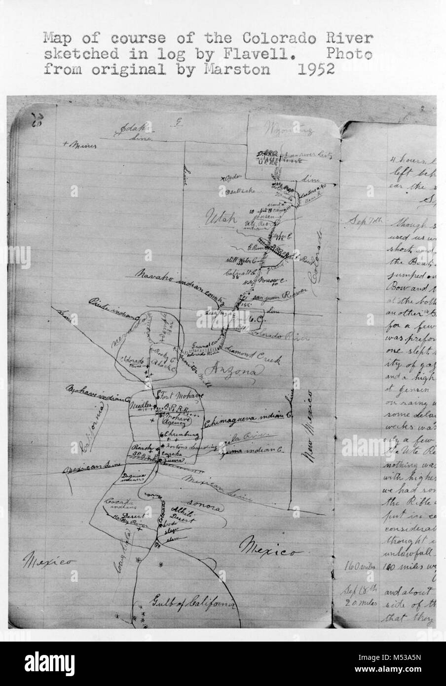 PHOTO OF HAND SKETCHED MAP OF COLORADO RIVER COURSE BY GEORGE Stock     PHOTO OF HAND SKETCHED MAP OF COLORADO RIVER COURSE BY GEORGE FLAVELL   RIVER RUNNER    ORIGINAL MAP CIRCA 1897  CATALOG   GRCA 13634 Grand Canyon  Nat Park