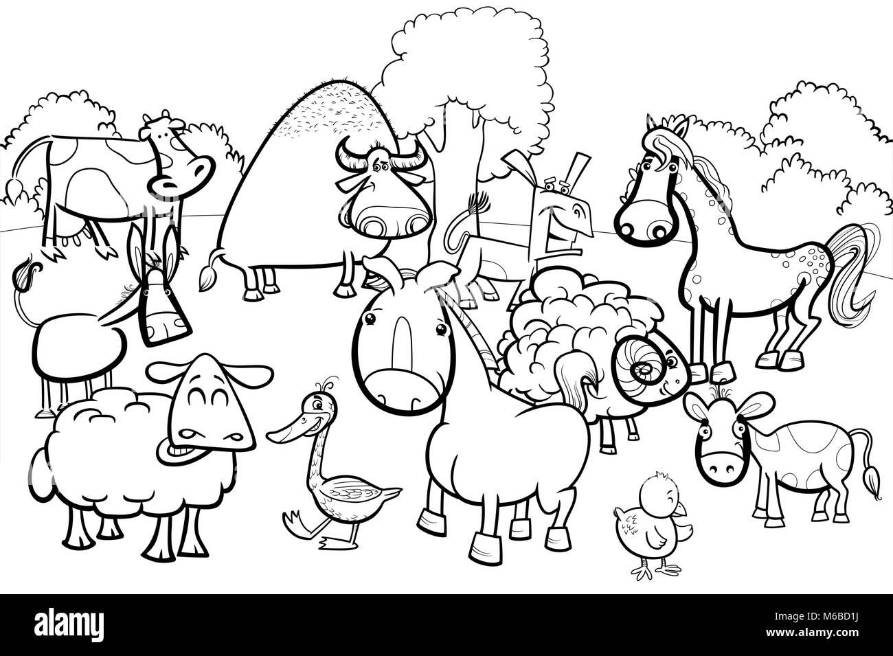 Black And White Cartoon Illustration Of Cute Farm Animal