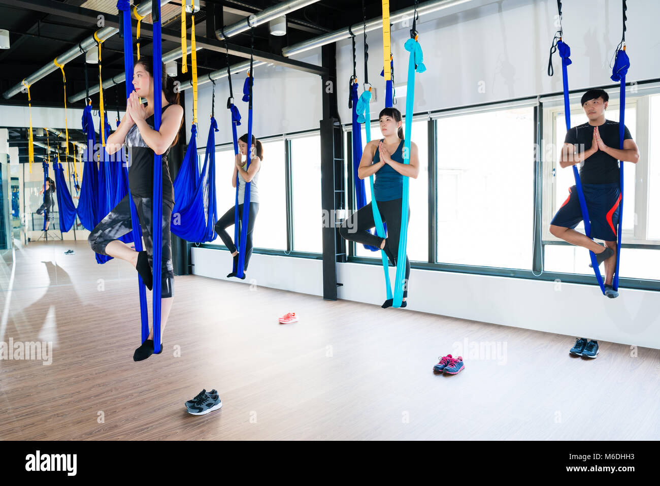 Man Hammock Aerial Yoga Stock Photos Amp Man Hammock Aerial