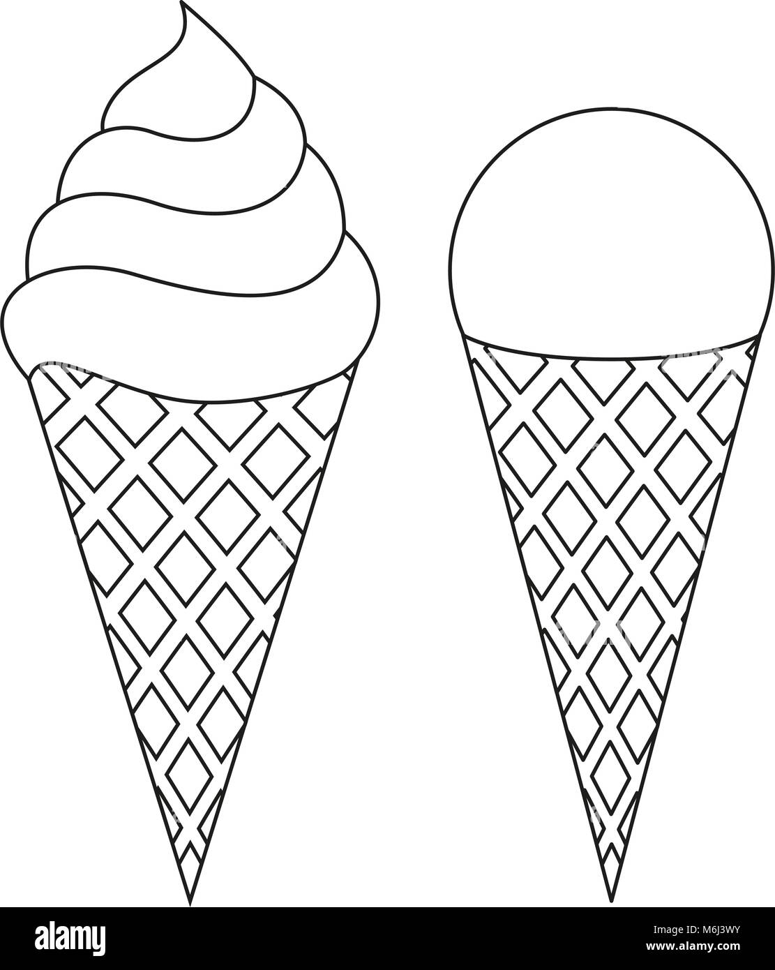 Line Art Ice Cream Cone Black And White Icon Set Coloring Book Page Stock Vector Image Art Alamy
