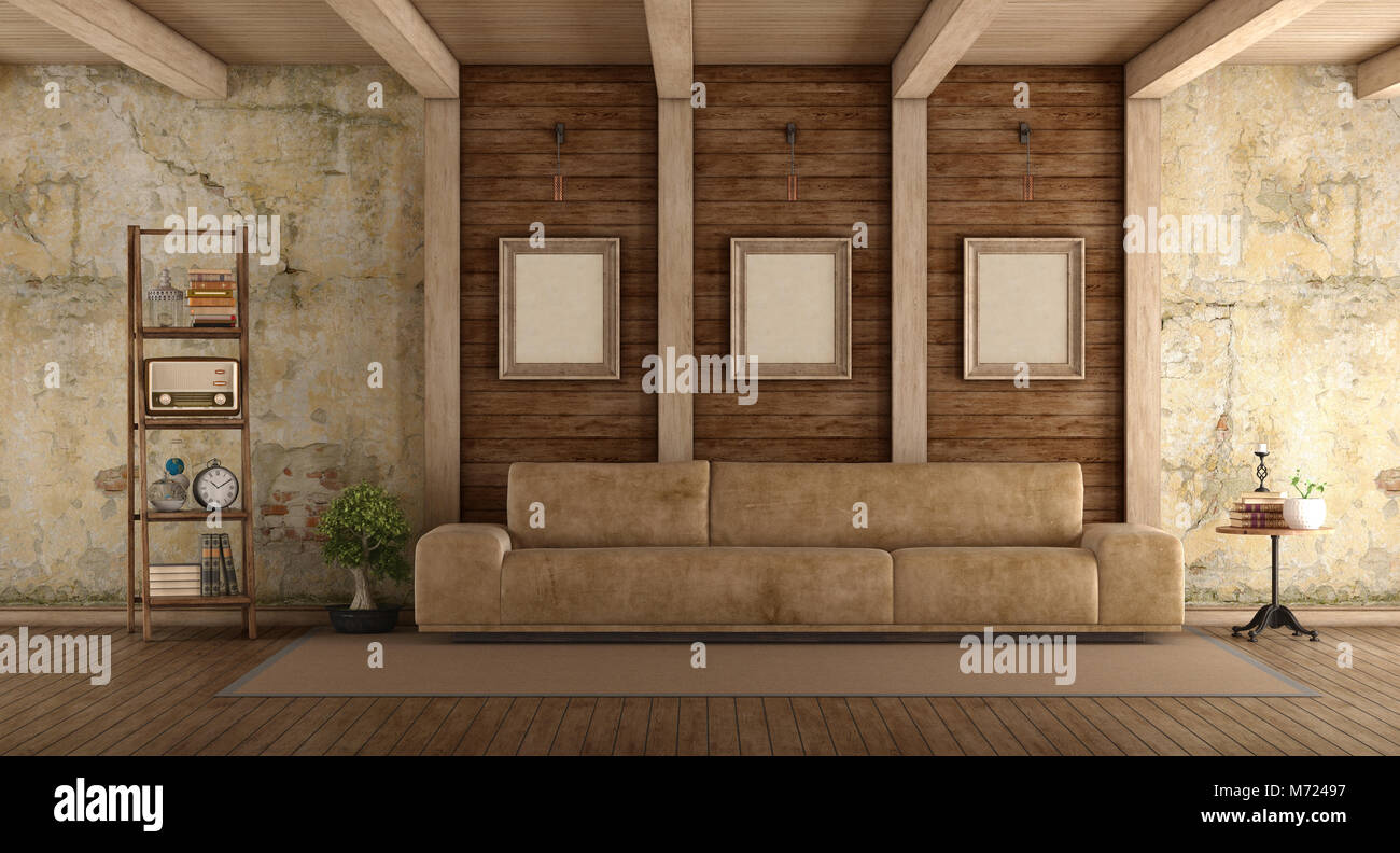 Retro Living Room With Leather Sofa Old Wall And Wooden