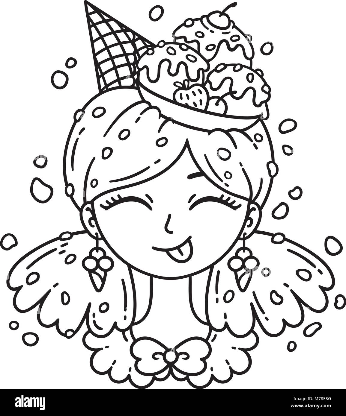 Ice Cream Girl Vector Illustration Coloring Page Stock Vector Image Art Alamy