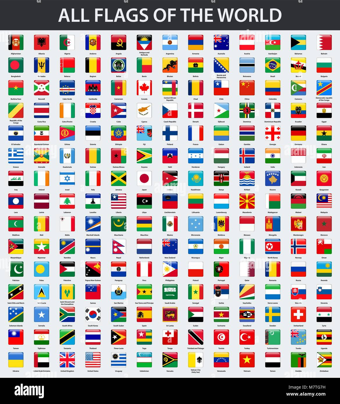 All Flags Of The World In Alphabetical Order Square