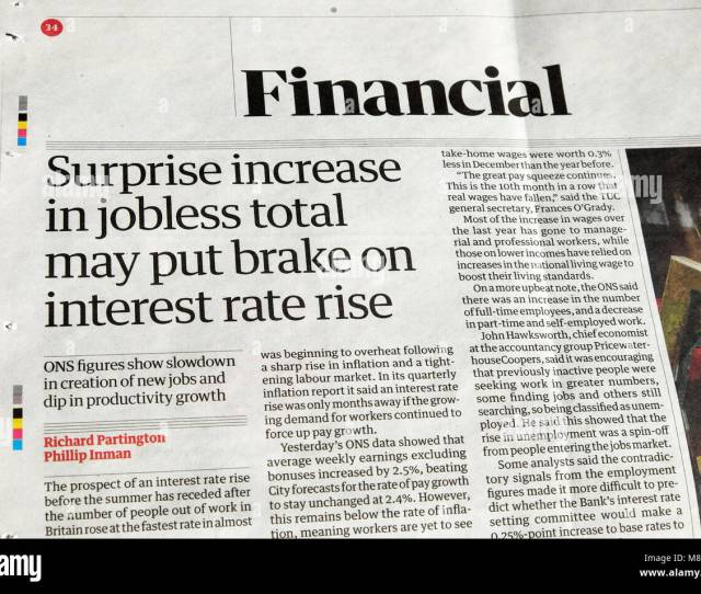 Guardian Newspaper Article Financial Headline Surprise Increase In Jobless Total May Put Brake On Interest Rate Rise London England Uk