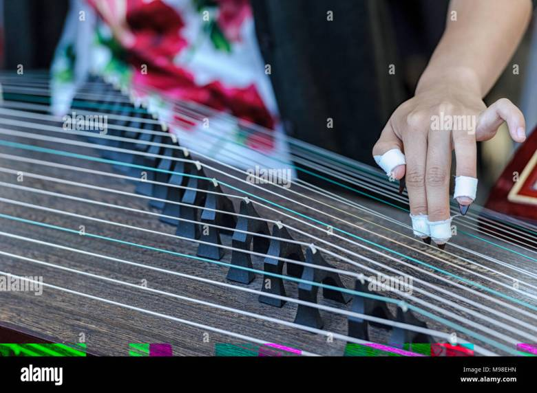 woman playing a guzheng, traditional chinese musical instrument at