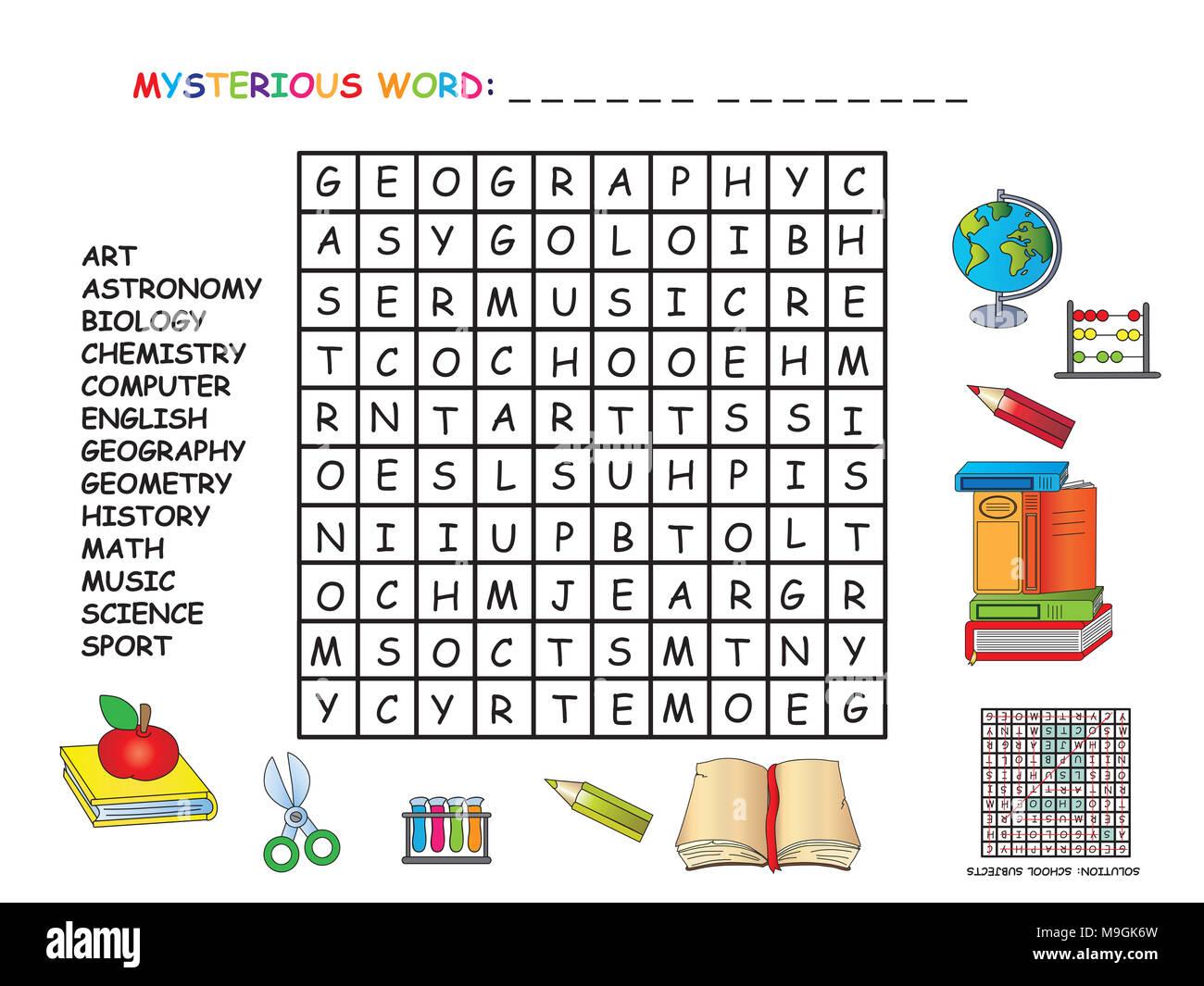 Game For Children Crossword Of School Subjects Stock