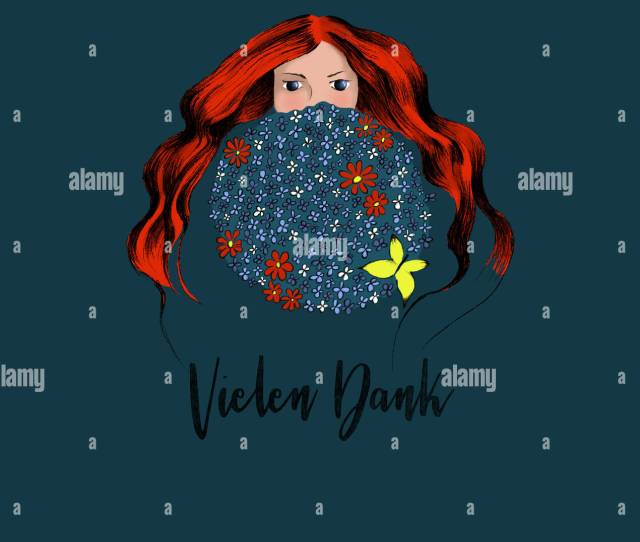 The Young Redhead Women Hiding Herself Behind Big Round Bouquet Of Blue And Red Flowers German Text Vielen Dank In English Thanks A Lot Designed