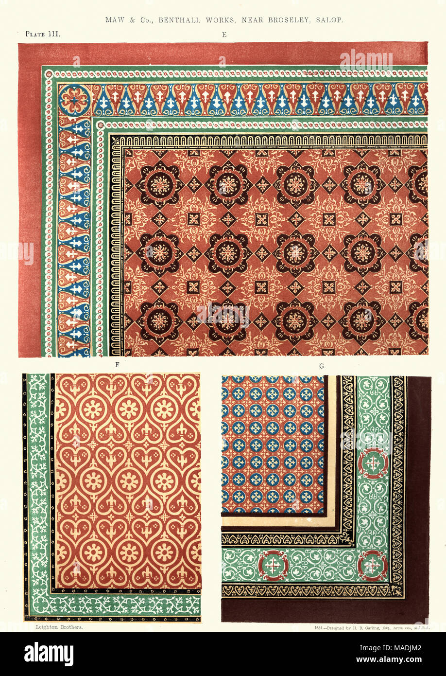 https www alamy com vintage engraving of a victorian encaustic floor tile pattern 1855 by maw and co benthall works encaustic tiles are ceramic tiles in which the pat image178550290 html