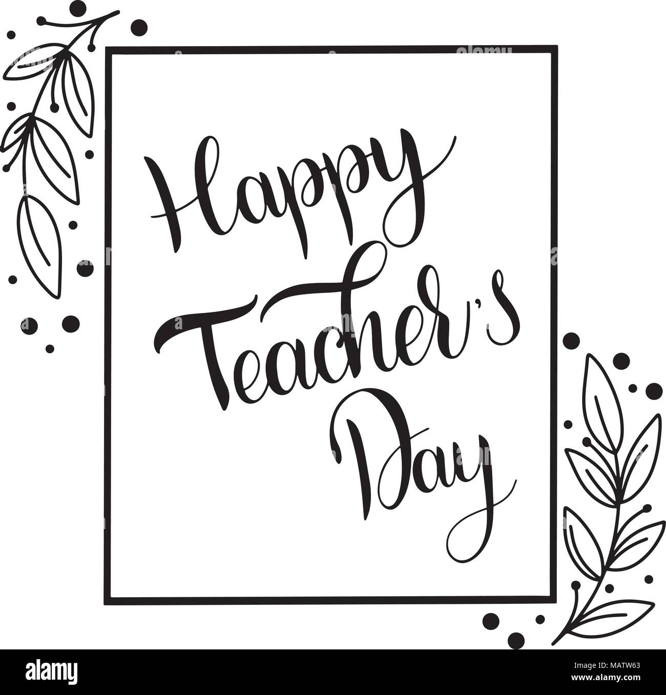 Happy Teacher Day Lettering Elements For Invitations