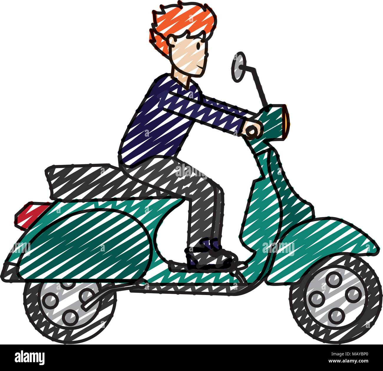 Doodle Man With Haistyle And Clothes Ride Motorcycle Stock Vector
