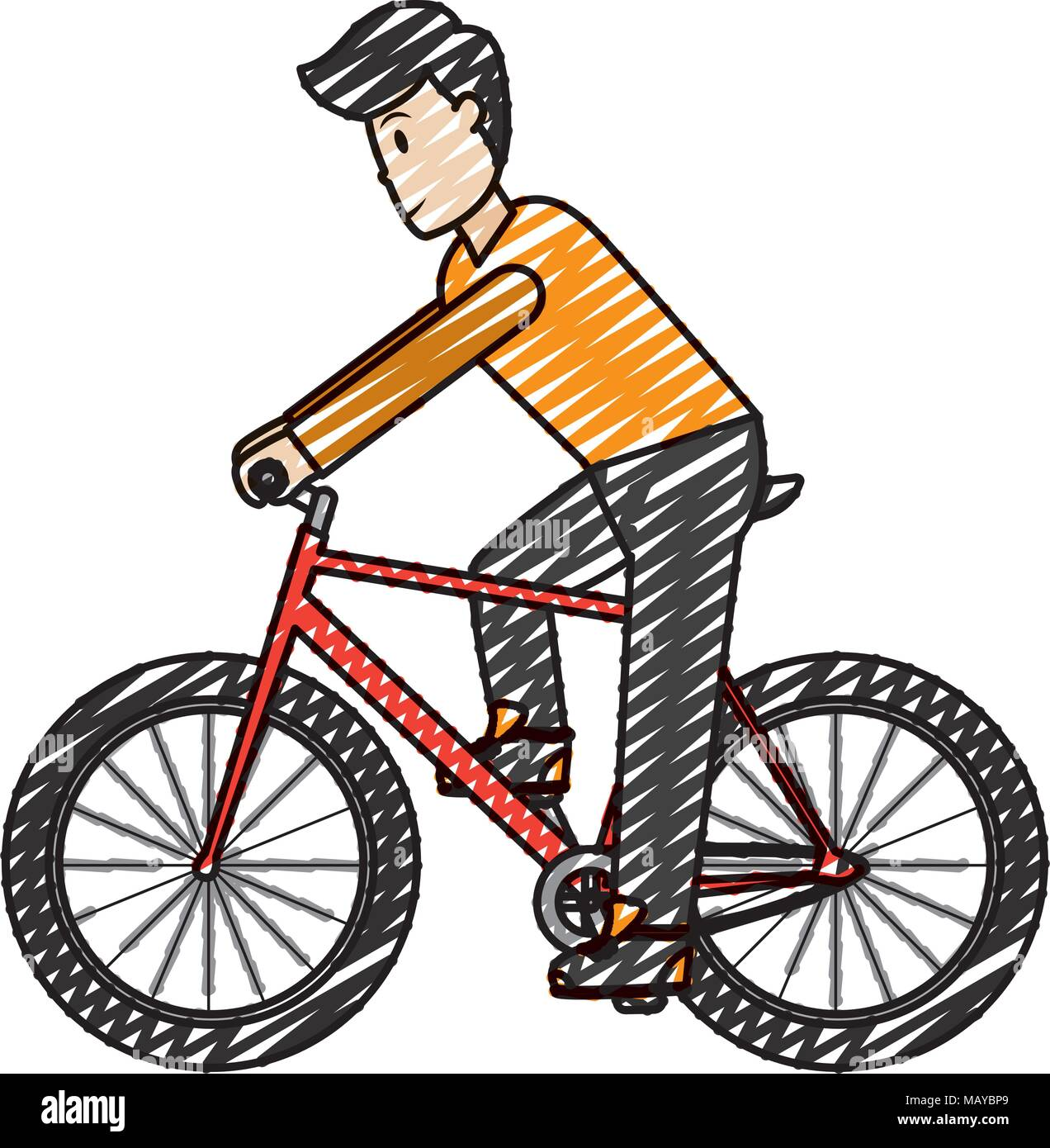 Doodle Man With Hairstyle And Clothes Ride Bicycle Stock Vector