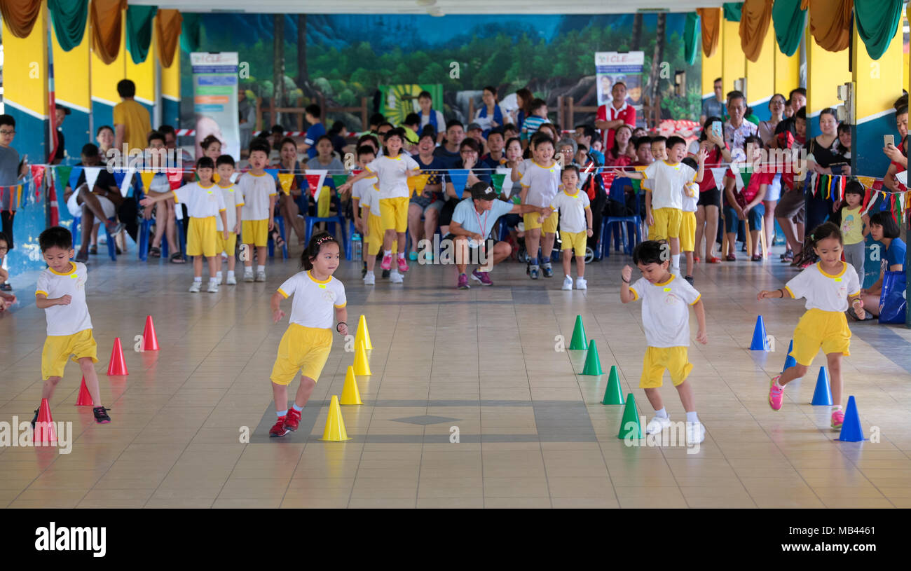Children Are Competing In A Zig Zag Race At Their