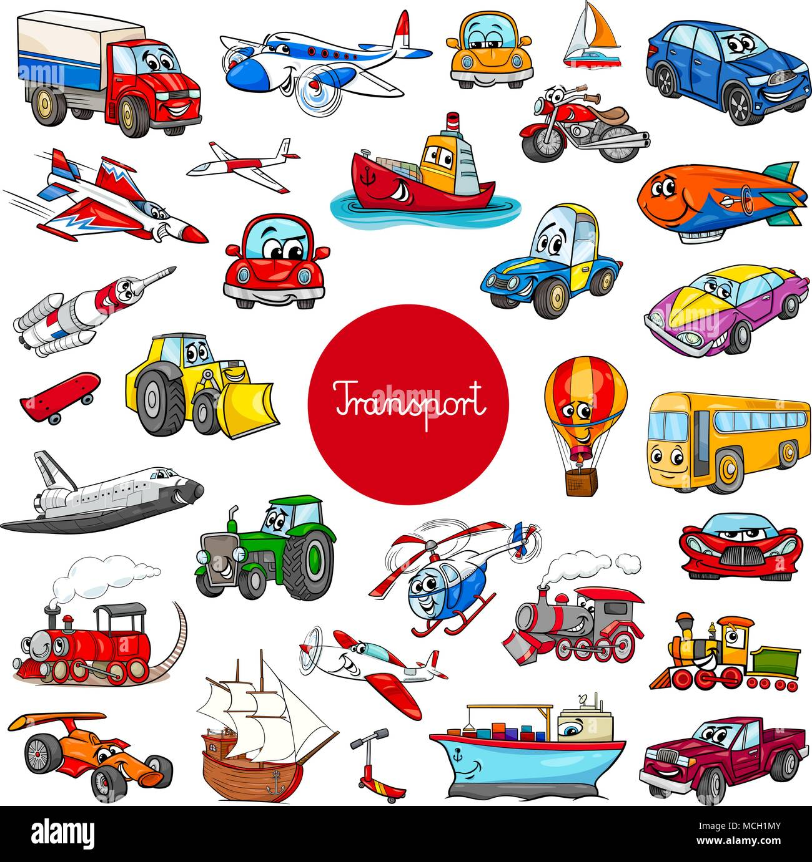 Cartoon Illustration Of Transportation Vehicle Characters