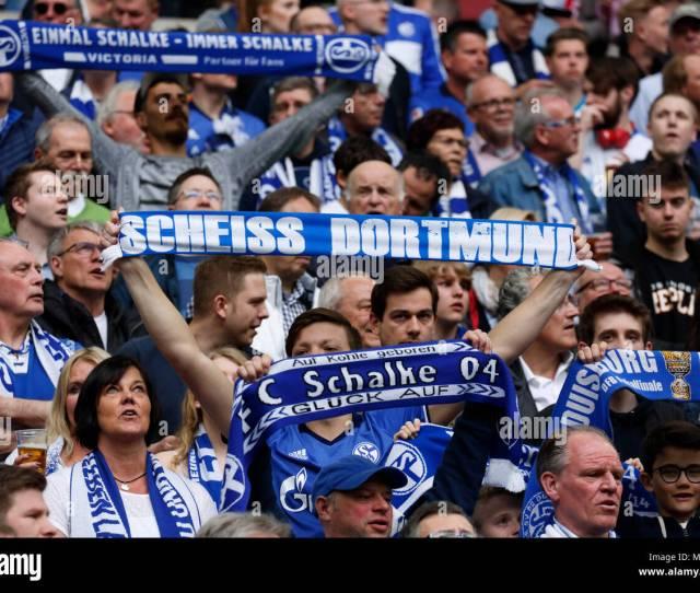 Fc Schalke 04 Vs Bvb Borussia Dortmund 20 Veltins Arena Gelsenkirchen Fun And Enthusiasm At The Schalke Football Fans Showing Their Club Scarf