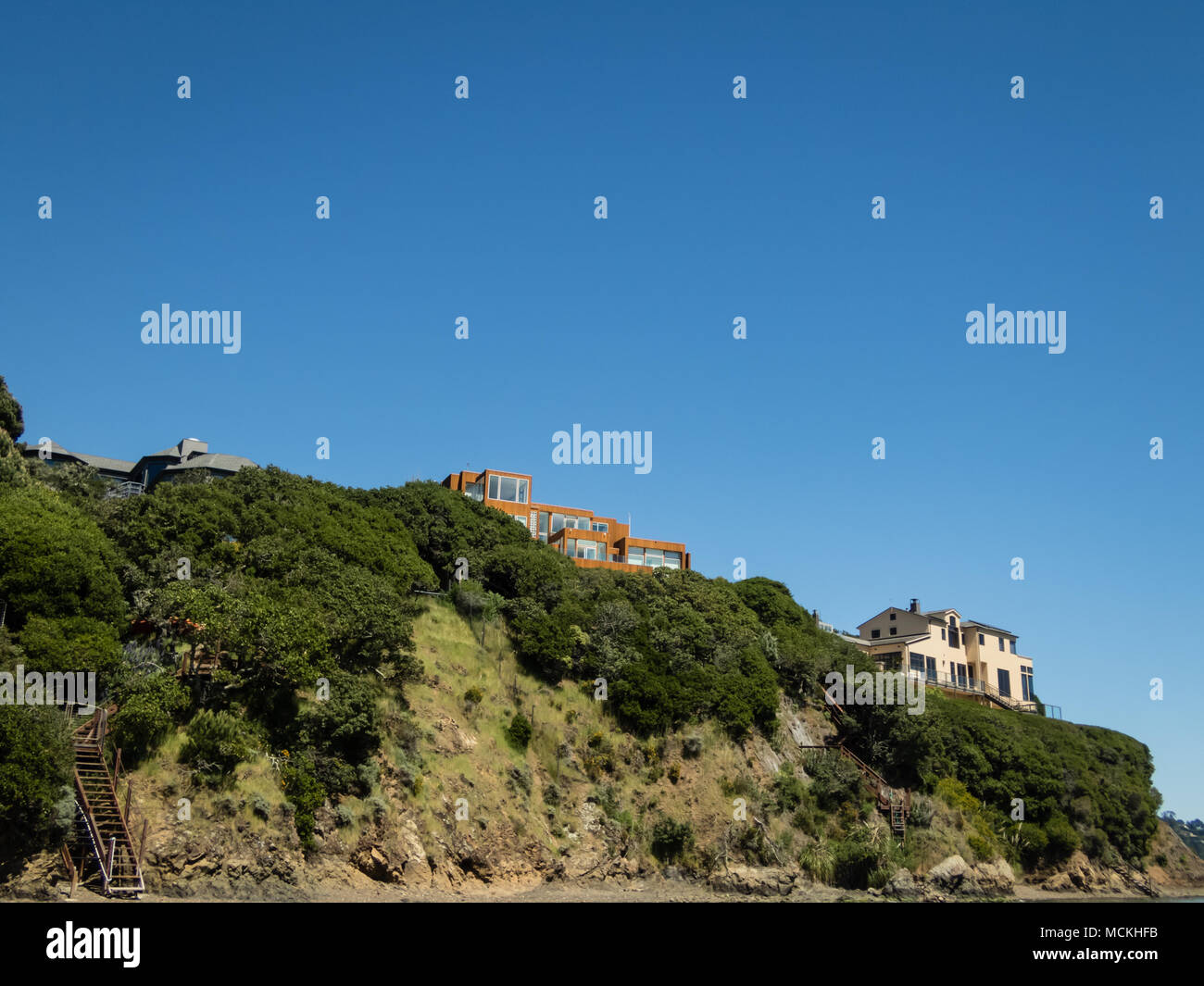 https www alamy com houses with red tile roofs on edge of a cliff marin county ca image179910399 html