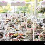 Garland Of Flowers And Greenery For Table Decoration Luxury Wedding Reception In Restaurant Stylish Decor And Adorning White Candles On Glass Candl Stock Photo Alamy