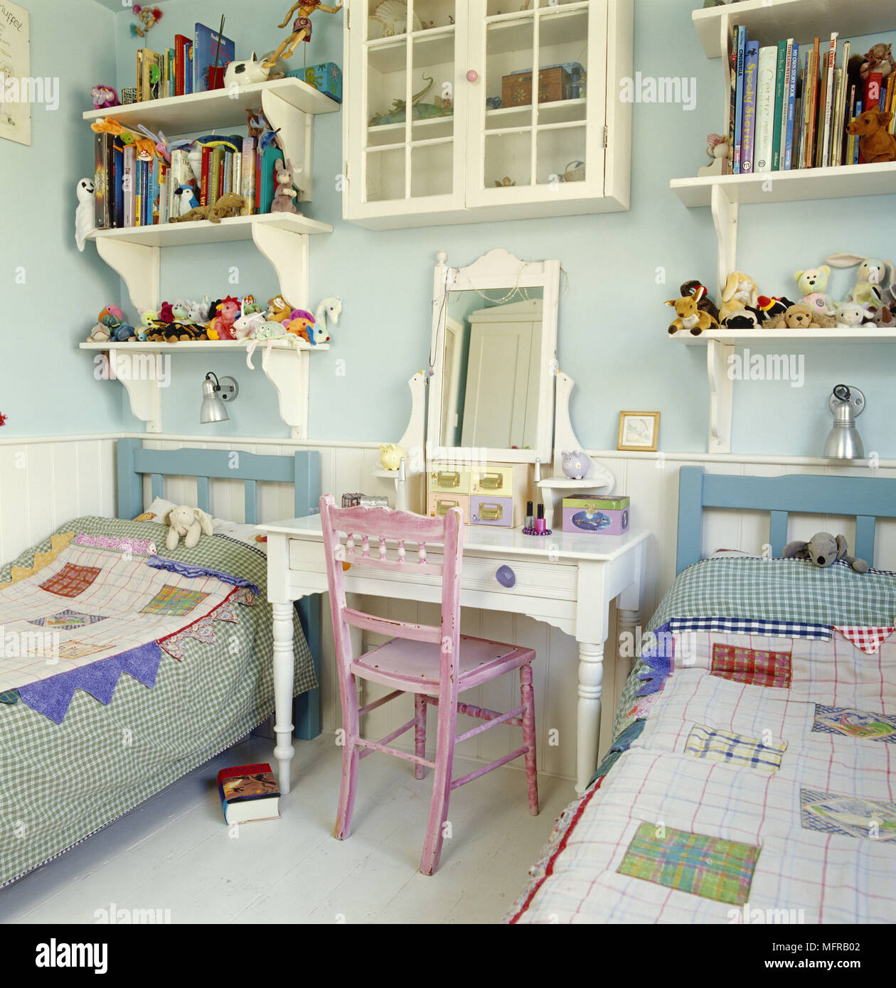 Pair Of Single Beds In Childrens Room Stock Photo Alamy