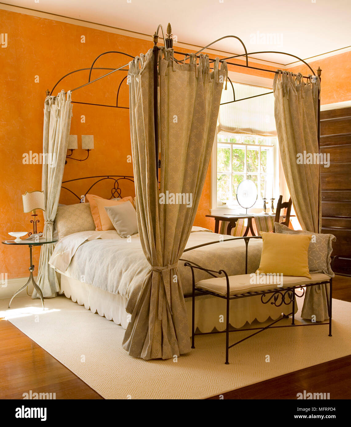 https www alamy com metal four poster bed with curtains in traditional style bedroom image181846032 html