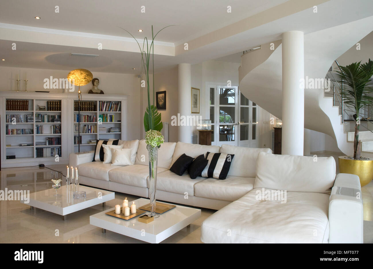 https www alamy com low coffee tables in front of l shaped sofa in modern sitting room image181850571 html