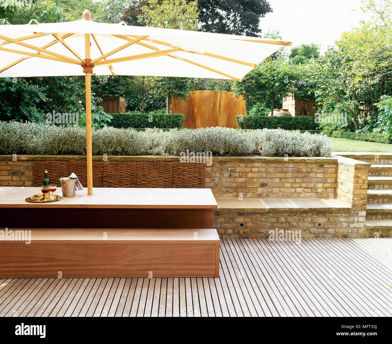 Patio Terrace Wooden Decking Table Bench Seat Parasol Terraces Patios Outside Outdoors Furniture Modern Stock Photo Alamy