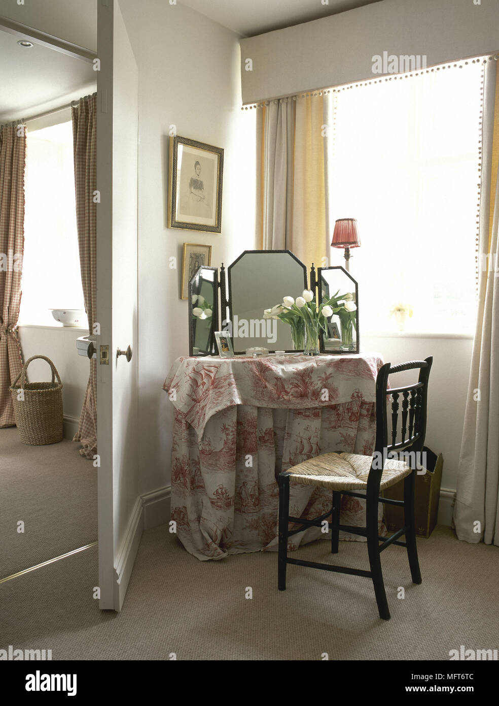 Bedroom Detail With Dressing Table Covered In Red Toile De Jouy Fabric Stock Photo Alamy