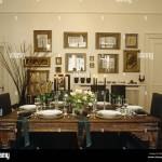 Decorative Wooden Dining Table Set For Dinner Party Stock Photo Alamy