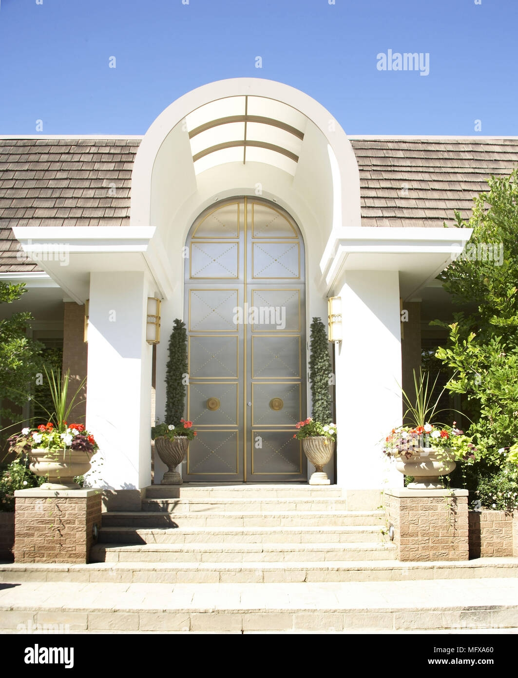 Exterior Of Modern Villa With Steps To Front Door Entrance Stock | Modern Front Door Steps | Entrance | Bungalow Entrance | Modern House | Contemporary | Garden Entrance