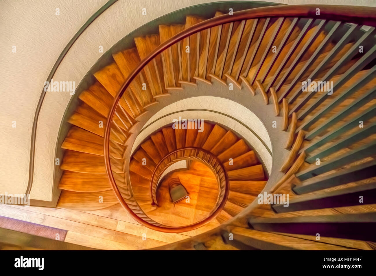 Top View Of Vintage Wooden Spiral Staircase With Digital Oil   Painting Metal Spiral Staircase   Stair Case   Staircase Kit   Stair Railing   Powder Coating   Spray Paint