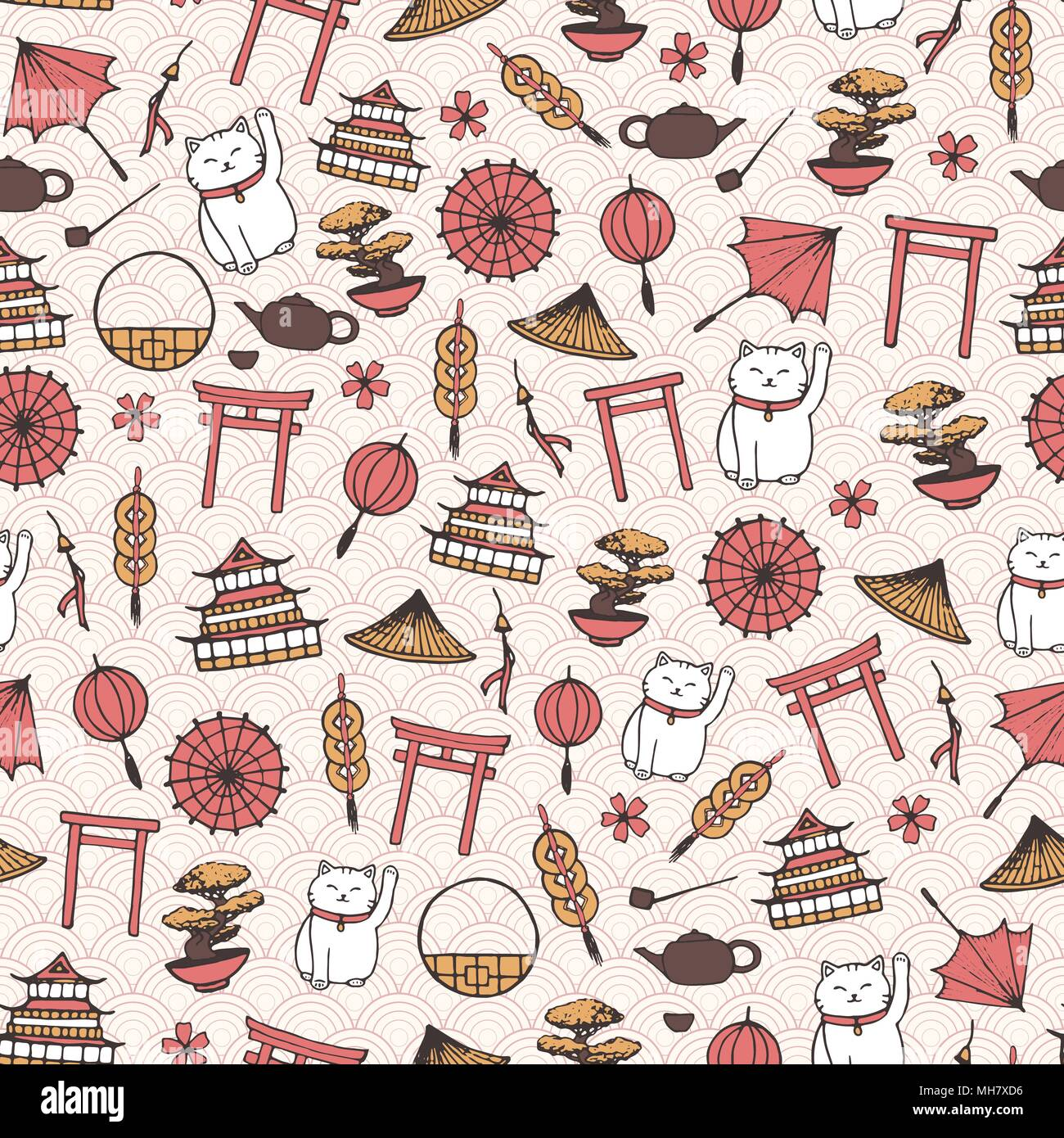 Hand Drawn Vector Asian Seamless Pattern With Umbrellas Japanese Lucky Cats Coins Lanterns
