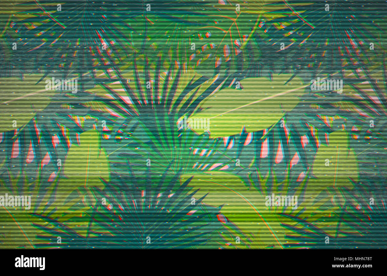 Abstract Digital Pattern With Colorful Palm Leaves Greenery
