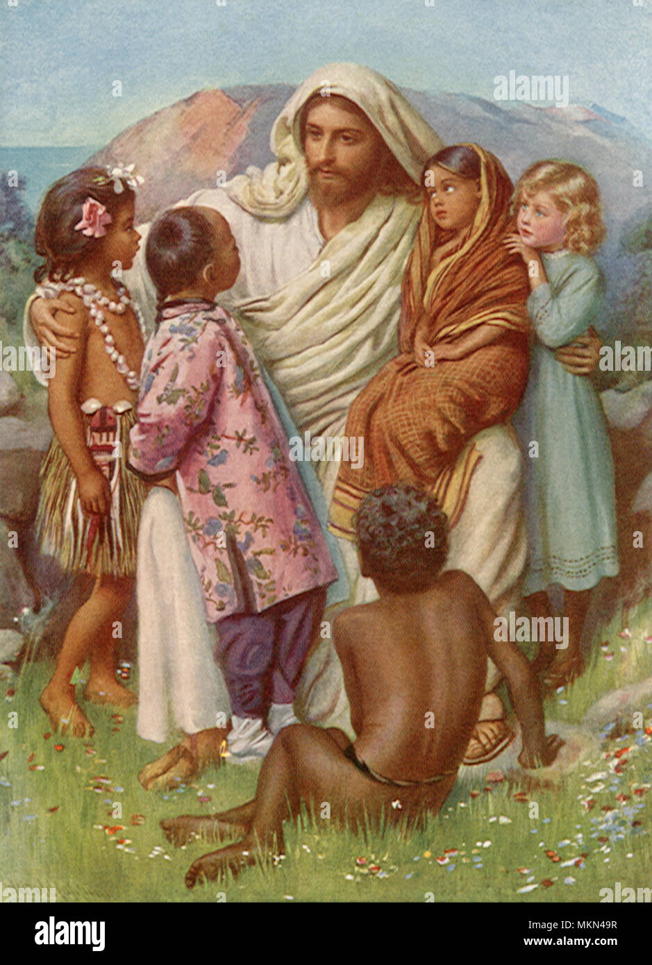 Jesus Christ Surrounded By Children Stock Photo Alamy