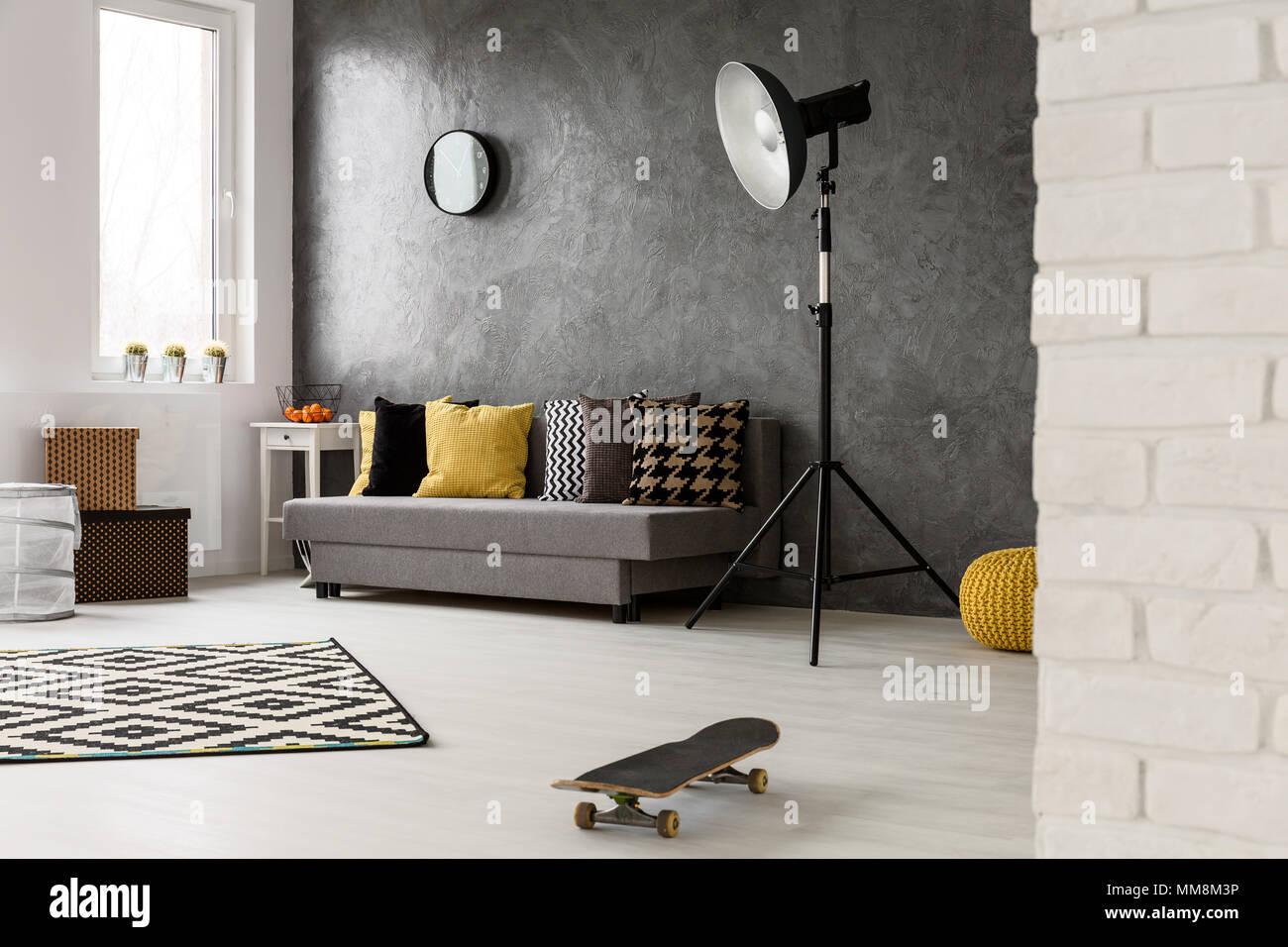 Stylish Grey Living Room With Sofa Chairs Standing Lamp