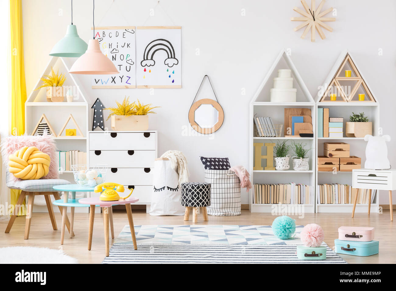 https www alamy com two simple posters hanging on white wall in kids room interior with material baskets wooden furniture and pastel lamps image184711766 html