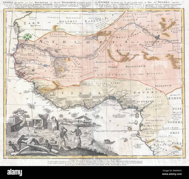 English  One of the most beautifully produced maps of west Africa to       English  One of the most beautifully produced maps of west Africa to  appear in the 17th century  Based on earlier Homann maps and research by  Anville