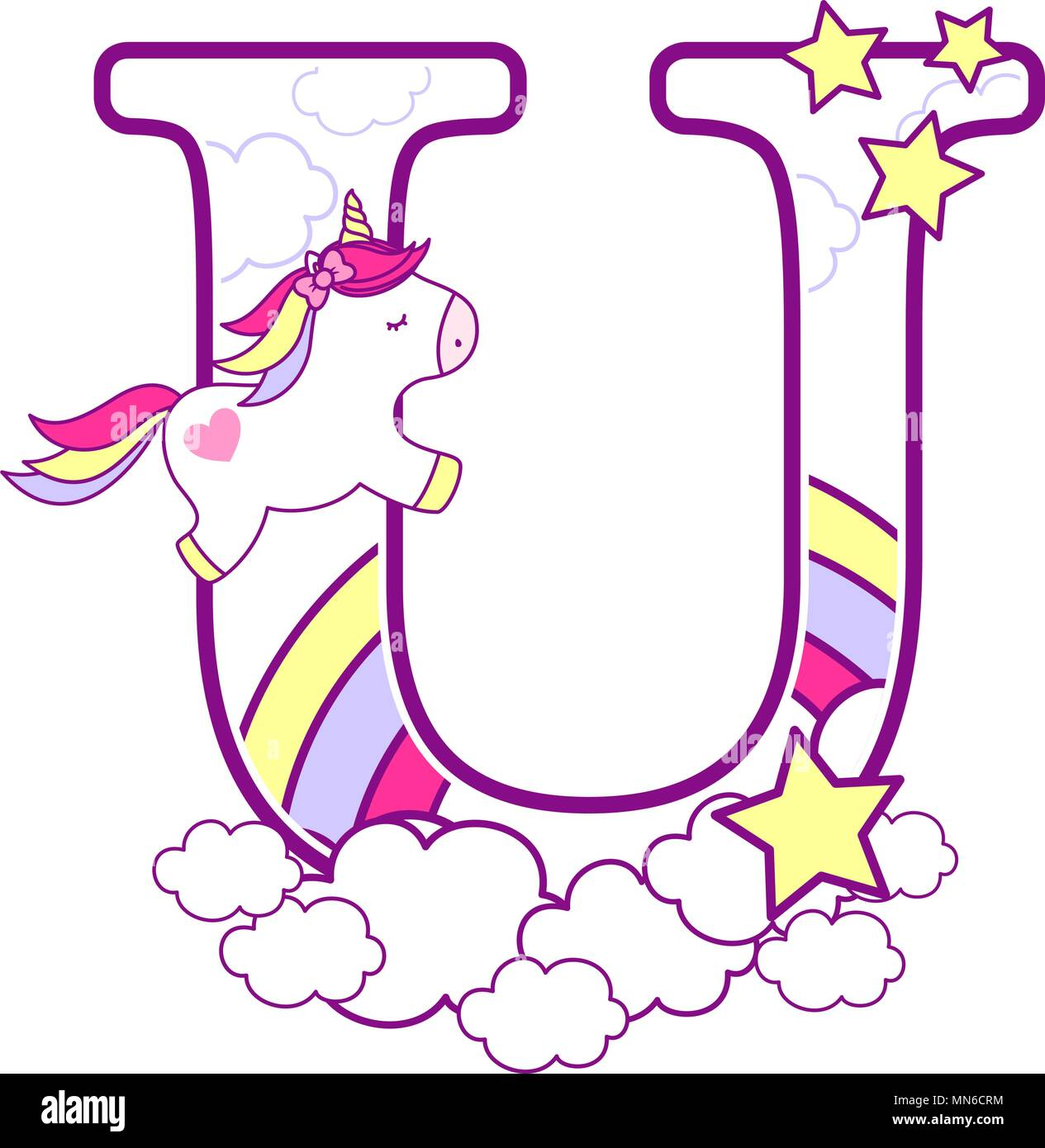 Initial U With Cute Unicorn And Rainbow Can Be Used For