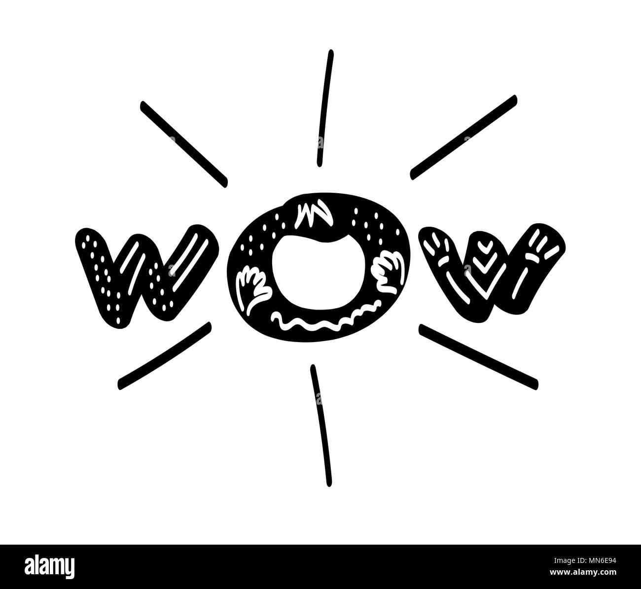 https www alamy com wow inscription hand drawn design word for card print poster emblem textile cloth paper vector illustration image185154400 html