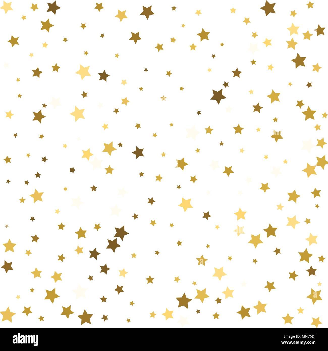 Gold Flying Stars Confetti Magic Christmas Frame Vector