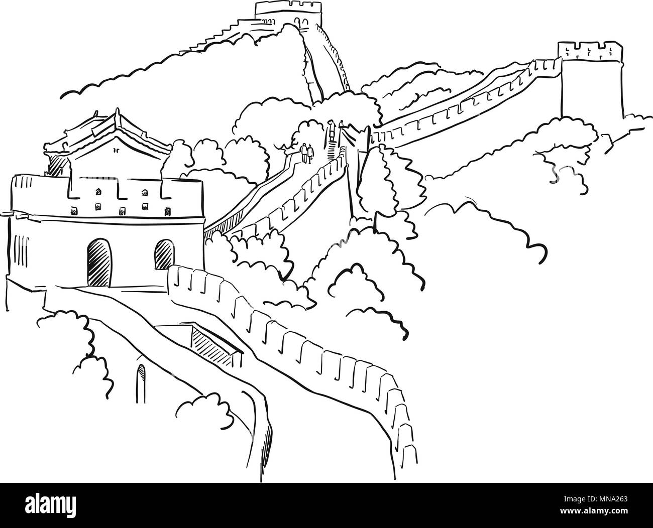 China Great Wall Vector Sketch Famous Destination