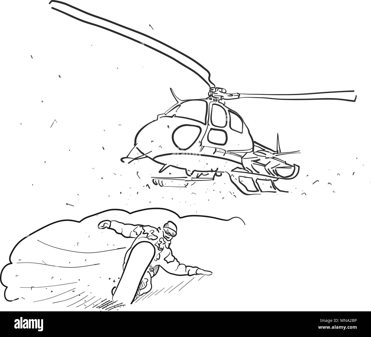 Snowboarding And Helicopter Doodle Sketches Hand Drawn Vector