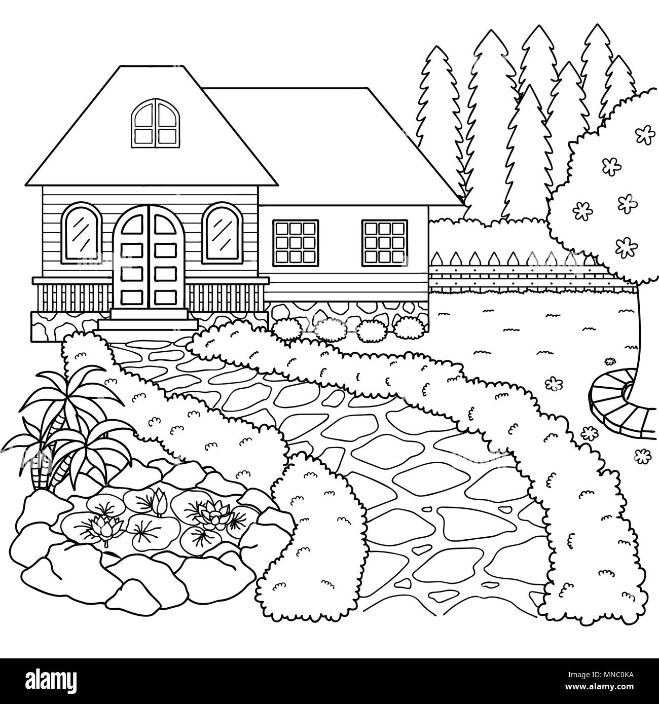 Hand Drawn Beautiful House And Garden For Design Element