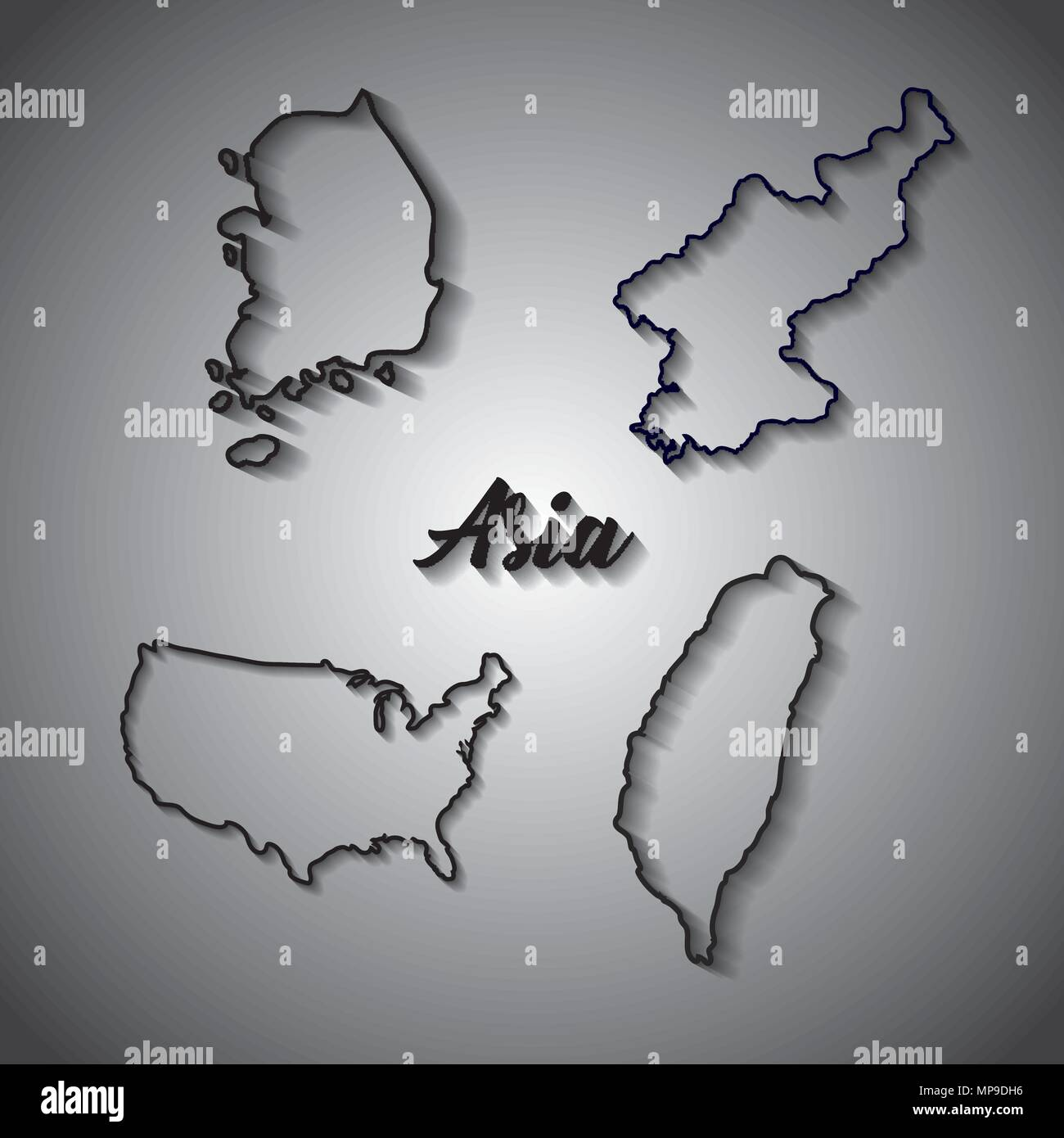 country maps of asia continent over gray background  vector     country maps of asia continent over gray background  vector illustration