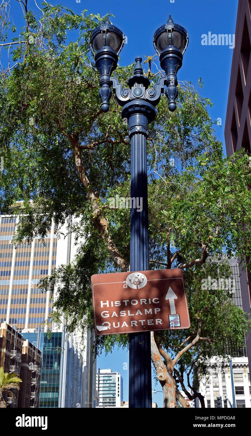 https www alamy com historic gaslamp quarter sign on street lamp in san diego california image185924320 html